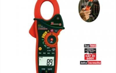 Alicate amperímetro AC/DC true RMS 1000 A com termômetro IV EX-830