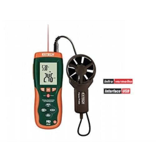 Anemômetro térmico com termômetro infravermelho integrado - Extech HD300