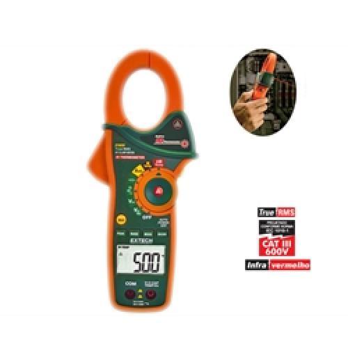 Volt Amperímetro AC com termômetro Infravermelho IR Extech EX-820
